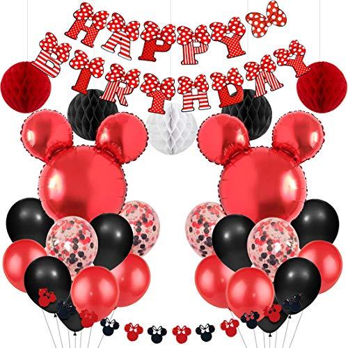 Jollyboom Fournitures de fête à thème Mickey et Minnie Rouge et Noir Ballons de Guirlande Minnie...