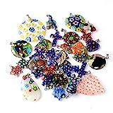 Millefiori - Juego de colgantes con lazo y perlas de cristal, para collar de mezcla de colores, 10 unidades de perlas para enhebrar, perlas para niños, R50