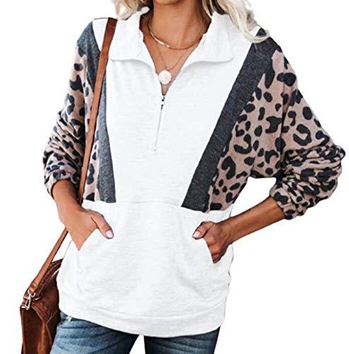 WUDUHUI Autunno E l'inverno del Leopardo delle Signore della Stampa Top con Scollo A V A Manica Lunga Pullover Maglione Casuale