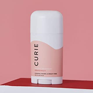 Curie All-Natural Deodorant for Men and Women   Aluminum-Free, Paraben-Free, Cruelty-Free   Grapefruit