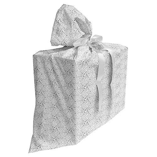 ABAKUHAUS Abstrait Sac Cadeau pour Fête Prénatale, Étoile de mer d'encre Dessiné à la Main, Pochette en Tissu Réutilisable de Fête avec 3 Rubans, 70 x 80 cm, Gris Anthracite et Blanc