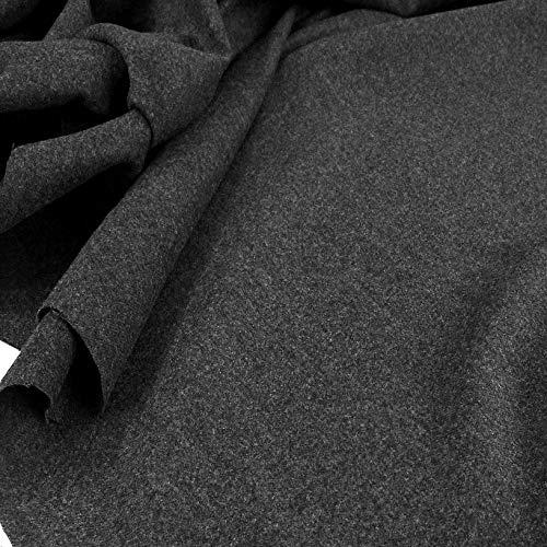TOLKO Wollstoffe | 50cm schwerer warmer Winter Mantelstoff | 1mm dickes winterfestes Wolltuch für Mantel Jacke Sakko Rock und Poncho | Meterware 150cm breit (Grau)