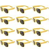 OAONNEA Annee 80 Lot Lunettes de Soleil Couleur pour Enfants Adulte Lunette Pack de Fete (12jaune)