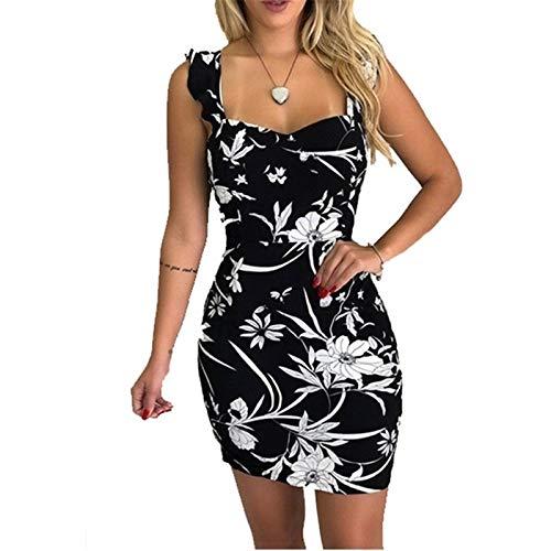 HRSD Elegante Mujer Sexy Vestido Dress Partido Tirantes Verano Vestido de Flores Playa Beachwear Largo Sin Mangas Vestidos Media Mediano,Rojo,L