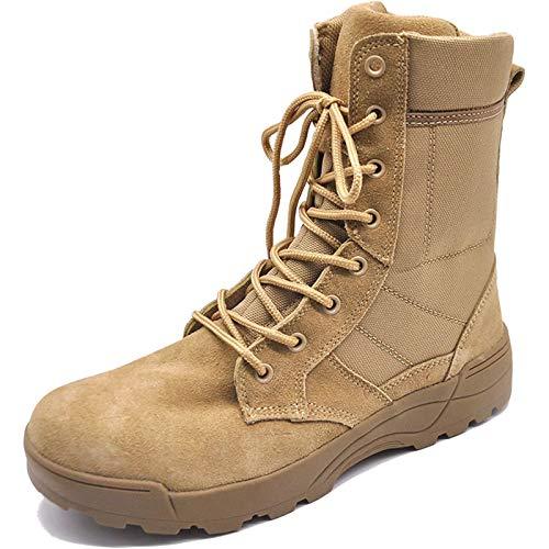 De los hombres Ultralítico Respirable Militar Ejército Botas de combate táctico Bota de patrulla de la policía de seguridad Zapatos al aire libre del desierto Cremallera,Sand color- US8.5/UK8/EU42