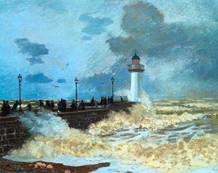 AFDRUKKEN-op-GEROLDE-CANVAS-Vanaf-de-steiger-Harvre-Monet-Claude-museo-Afbeelding-gedruckt-op-canvas-100%-katoen-Opgerolde-canvas-print-Kunstdruk-op-gerold-Afmeting-63_X_81_cm