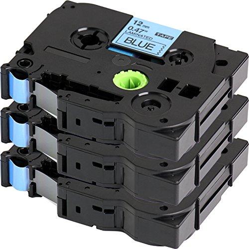 3x Schriftband für Brother TZe-531 / TZ-531 | 3x Schwarz auf Blau / 12mm x 8m | geeignet für Brother P-Touch 1000W 1010 1090 1830VP 2030VP 2100VP 2430PC 2470 2730VP 7100 VP7600VP H100R H300 D200VP und andere P-Touch Geräte