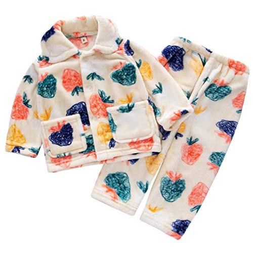 DEBAIJIA Bebé Ropa de Casa 0-12T Infantil Homewear Niños Pijama Niña Ropa de Dormir Niño Camisones Invierno Franela Calentar (Blanco-14)