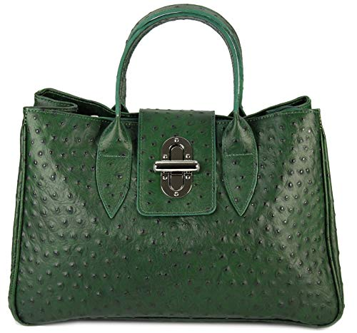 Belli Echt Leder Handtasche Damen Ledertasche Umhängetasche Henkeltasche in grün Strauß Prägung - 36x25x18 cm (B x H x T)