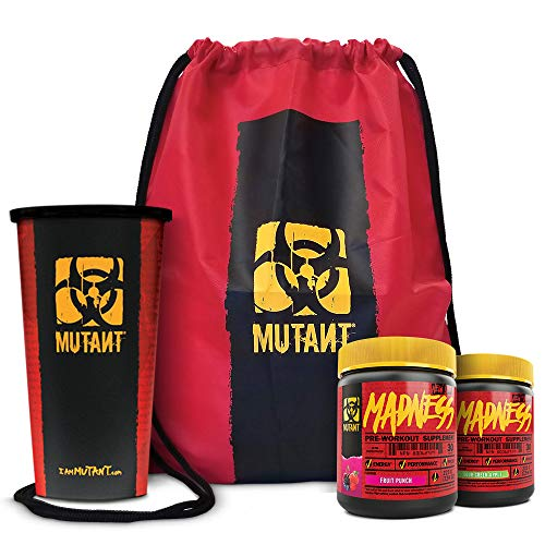 Mutant Madness Power Punch Bundle - Pre-Workout Powders Engineered Exclusively for High-Intensity Workouts with Speciality Shaker Cup, Fruit Punch and Green Apple (225 g)