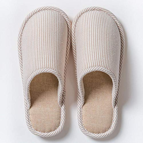 Slippers Caliente Pantuflas Antideslizantes,Household Non-Slip Cotton Slippers, Warm Thick-Soled Couple Slippers-Khaki_36-37,Pantuflas Ultraligero Cómodo y Antideslizante