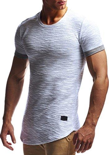 Leif Nelson Herren Sommer T-Shirt Rundhals-Ausschnitt Slim Fit Baumwolle-Anteil Moderner Männer T-Shirt Crew Neck Hoodie-Sweatshirt Kurzarm lang LN6324 Grau M