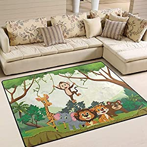 ALAZA Animal Jungle Monkey Tiger Giraffe Lion Elephant Indoor Modern Area Rug 4′ x 5′, Dining Room Home Bedroom Carpet Floor Mat Nursery Rug Room Mat