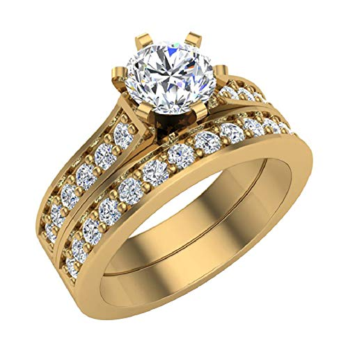 Wedding Ring set for women Gift Box Authenticity cards 14K Yellow Gold w/Band 1-1.10 carat t.w. (J, I1) Ring size 6.5