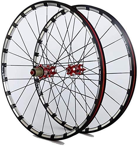 Rueda de bicicleta MTB para bicicleta 26 27.5 29 pulgadas Juego de ruedas delanteras traseras Llanta de aleación de doble capa 7 Palin Bearing Disc Brake QR 7-11 Speed 24H Ruedas delanteras y trase
