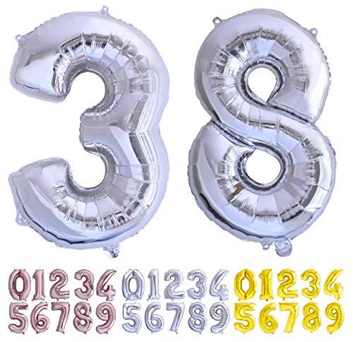 Luftballon Geburtstag Nr. 38 oder 83 XXL Silber - Riesen Folienballon in 70 cm Geburtstagsdeko   Ballon Zahl Deko zum Geburtstag   fliegt mit Helium (38 silber)
