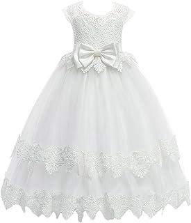 IBTOM CASTLE Little Big Girl Flower Princess Pageant Vintage Lace Dress Kids Junior Bridesmaid Wedding Birthday Party Fall Dance Gown