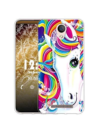 Sunrive Kompatibel mit DOOGEE X6 Pro Hülle Silikon, Transparent Handyhülle Schutzhülle Etui Hülle (Q Einhorn 2)+Gratis Universal Eingabestift MEHRWEG