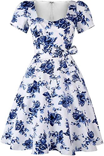 GOOBGS Women s 1950s Vintage Puff Sleeves Cocktail Rockabilly Swing Retro Dress with Pockets product image