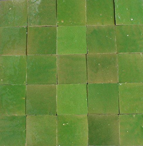 20Stk. Zelliges glasiert 10x10x1,2cm marokkanische Fliesen - (maigrün)