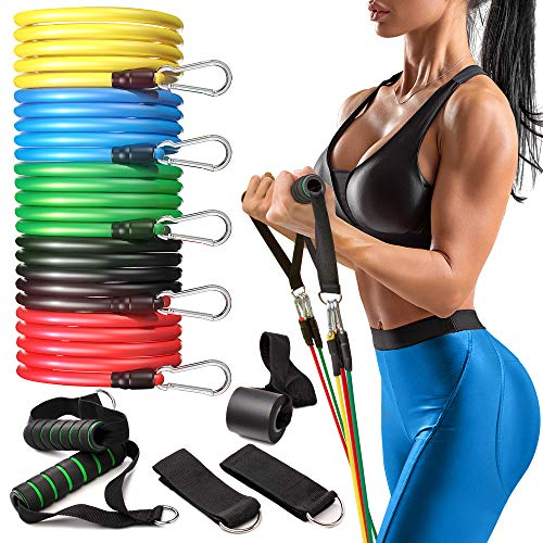 Perfotek Resistance Bands with Handles, Set for Exercise - 11 pcs Set for Fitness - Include Elastic Workout Bands, Door Ancor, Ankle Straps, Carrying Bag &Cushioned Foam Handles