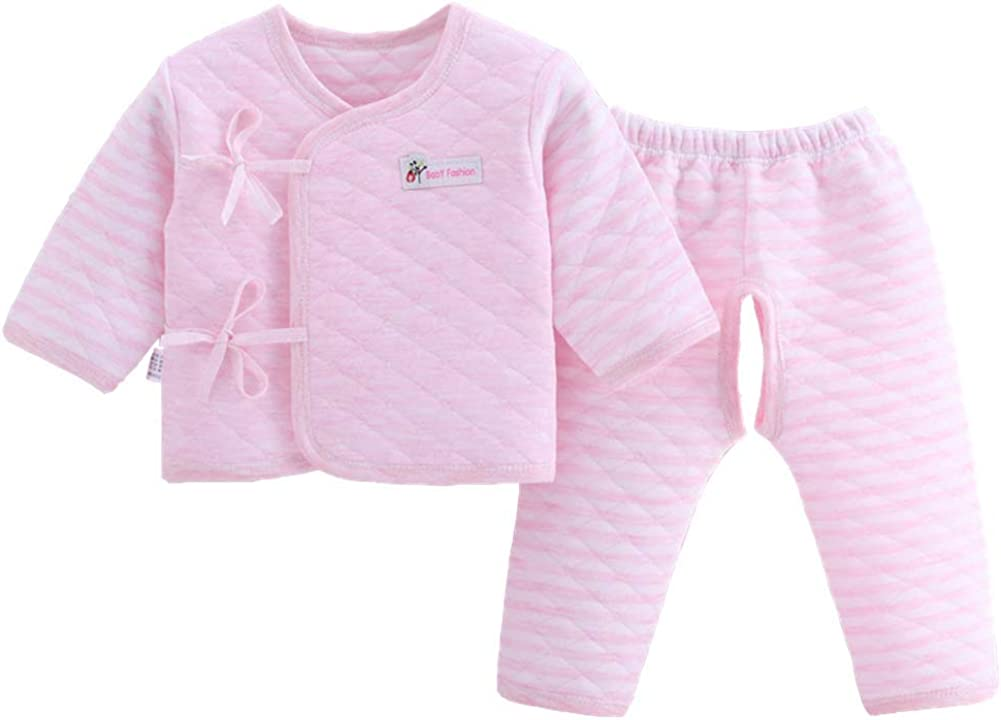 Vinesen 2PCS Infant Layette Set Newborn Baby Thick Cotton Kimono Clothes Set 0-6M Clothes Suit Essentials Outfit Sets