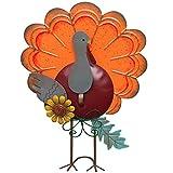 ATDAWN Metal Free Standing Turkey Decoration for Autumn Fall Thanksgiving Harvest Halloween Home Decor (Orange)