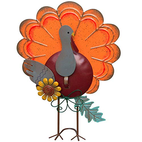 ATDAWN Metal Free Standing Turkey Decoration for Autumn Fall Thanksgiving Harvest Yard Decoration (14.5 Inch)