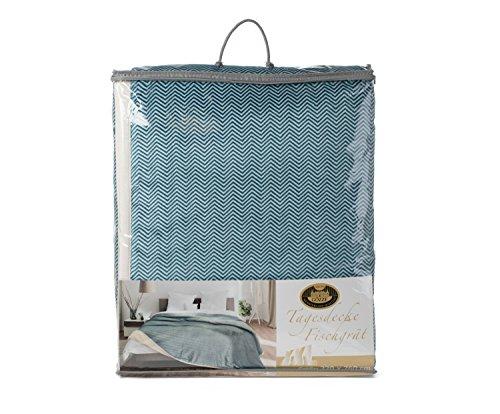 Gözze Tagesdecke, Doppellagig verarbeitet, Im Fischgrät Design, 220 x 260 cm, Petrol, 40124-54-220260