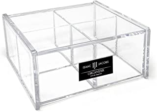 "Isaac Jacobs 4-Compartment Square Clear Acrylic Organizer with Lid (5.75"" L x 5.75"" W x 2.75"" H), Multi-Sectional Tray, St..."