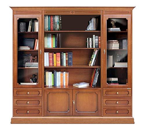 Arteferretto Bücherschrank Wohnwand aus Holz im klassischen Stil für Wohnzimmer/Büro, Wohnwand mit Glastüren Bücherregal Breite 203 cm, Holzmöbel