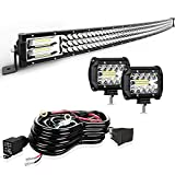 Led Light Bar Curved TURBO SII 50 Inch 684W Triple Row Flood Spot Combo Beam Led Bar W/2Pcs 4 Inch 60W Off Road Driving Fog Lights with Wiring Harness-3 Leads for Trucks Jeep Ford Polaris ATV Boats