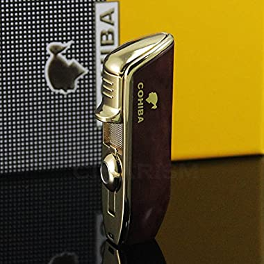 Cohiba Triple Torch 3 Jet Blue Flame Luxury Cigar Windproof Refillable Gas Lighter With Gift Box Classic Vintage Brown