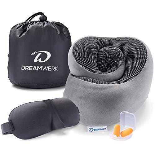 Dreamwerk Reise Wunder - Innovatives Reise Nackenkissen Set mit Memory Foam | Unfassbar klein einrollbar für 100% entspannte Reisen im Flugzeug und Auto | Nackenhörnchen (Grau)