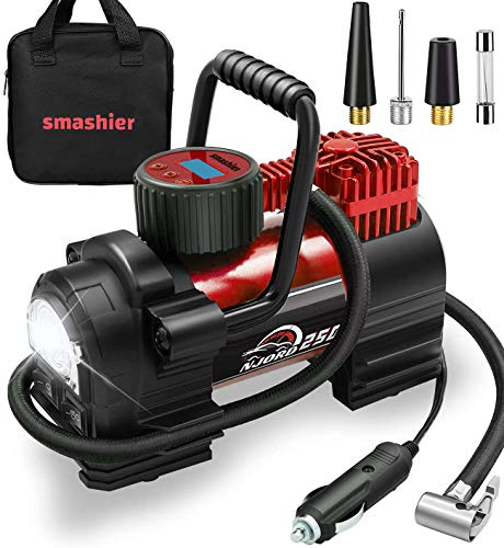 Smashier Portable Air Compressor Tire Inflator - 12V DC Heavy Duty Digital Pump with 9 LED Light for Car/Motorcycle/Air Mattress, 12FT Extended Cord Upgraded Quick Connector,Fast Inflation