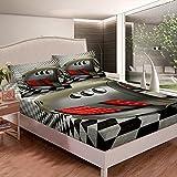 Loussiesd Cool Race - Juego de ropa de cama deportiva para coche, juego de sábanas para niños y adultos, color blanco y negro