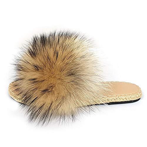 Geflochtene Sohle Pantoffeln mit Finn Raccoon Fell Latschen Pelz Sandalen Schlappen Echtfell Echtpelz Slipper Slides Schuhe Pantoletten Waschbärfell (38 EU)
