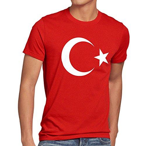 CottonCloud Türkei Herren T-Shirt Turkey Türkiye Flagge Mondstern, Größe:S, Farbe:Rot