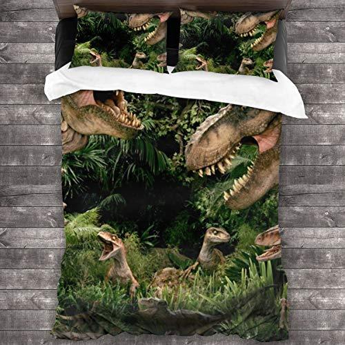 AIMILUX Funda Edredón,Dinosaurios en la Selva Tropical,Tyrannosaurus Rex en la era jurásica,Ropa de Cama Funda Nórdica,1(140x200cm)+2(50x80cm)