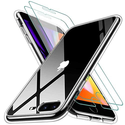 KEEPXYZ Funda para iPhone 7 Plus / 8 Plus Silicona Transparente TPU Antigolpes + 2 Pcs Protector de Pantalla para iPhone 7 Plus / 8 Plus Cristal Templado, Vidrio Templado para iPhone 7 Plus 8 Plus