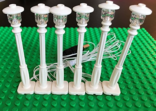 brickled White Lamp Post led Street Light for Lego USB Connected 6 Posts