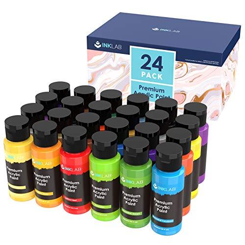 Pintura Acrílica 24 Colores Set de 60ml Colores Acrílicos No Tóxica Conjunto de Pintura Acrílica para Artistas Manualidades Lienzos Madera Tela Cerámica
