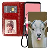 Wallet Case Compatible Samsung Galaxy S6 Edge (2015) (5.1in) Goat Smile with Magnetic