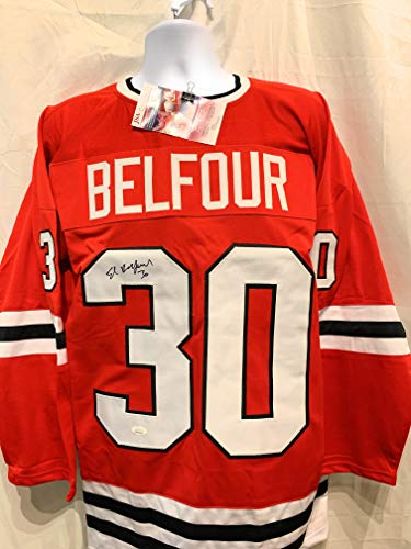Ed Belfour Chicago Blackhawks Signed Autograph Custom Jersey Red JSA Certified