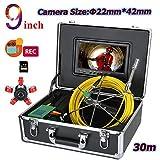 MYZZ 30M 9 Pulgadas DVR 22 Mm Drenaje Alcantarillado Tubería Sistema De Endoscopio Industrial, Cámara De Inspección De Alcantarillado IP68 A Prueba De Agua con 6W Luces LED