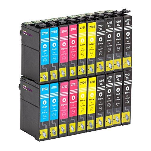 Cartucce di inchiostro compatibili con Epson T2701–04| Nero/Ciano/Magenta/Giallo | per Epson WF-360DWF / 3620WF / 3640DTWF / 7110DTW / 7610 DWF / 7620DTWF Multicolore multicolore 20 Cartouches