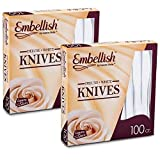 [200 Knives] Embellish White Disposable Heavy Duty Plastic Knives, Ideal For Wedding, Catering,...