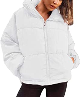 neveraway Womens Zipper Winter Thickened Warm Solid Colored Pocket Jacket