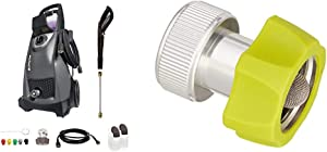 Sun Joe SPX3000-BLK Pressure Joe 2030 PSI 1.76 GPM 14.5-Amp Electric Pressure Washer, Black & Joe Hose Adaptor Series SPX-AGHA Universal 3/4-Inch Aluminum Pressure Washer to Garden, Green