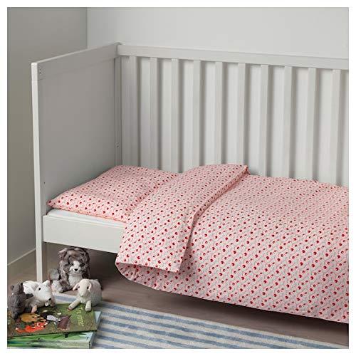 MSAMALL GULSPARV Bettbezug / Kissenbezug für Kinderbett, Lingonberry gemustert, 110 x 125 / 35 x 55 cm, strapazierfähig und pflegeleicht, Babybettwäsche, Bettwäsche, Textilien, umweltfreundlich.